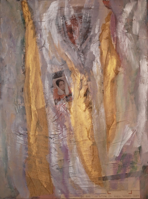 telacarta tre, 2006 carta e acrilico su tela cm70x80