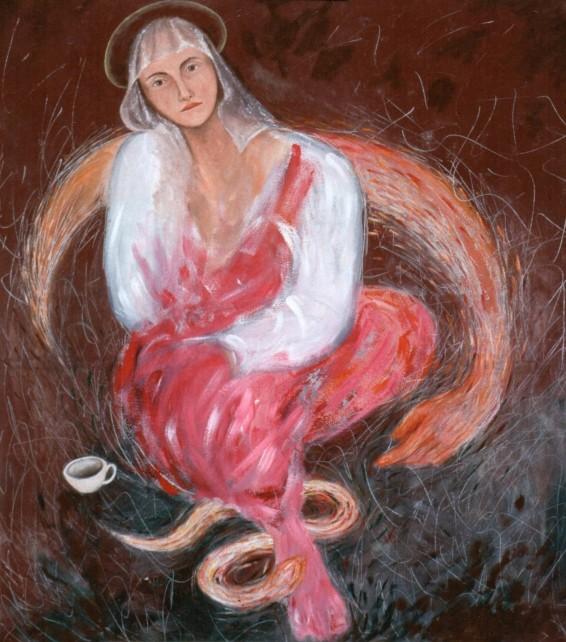 annunziata, 1989 olio su tela cm 90 x 90 collezione privata